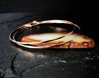 """Large Hoop Earrings / 2"""" Sterling Silver Hammered Hoops / Two Inch Rose Gold Scalloped Hoop Earrings / 14k Gold Filled Boho Hoops"""