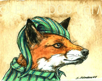 A Red Fox in PJs - Original ACEO Painting