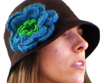 Brown cloche hat, 20s hat, 20s style hat,Wool hat, Vintage hat, Retro hat, Winter hat, By size hat, handmade hat