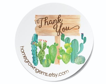 Custom Boho Watercolor Cactus Southwest - Labels  - Thank You Stickers - Branding DS0110
