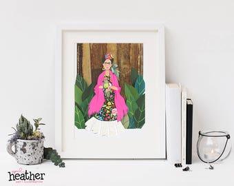 Frida Cut Paper Illustration, Papercut art, Frida Kahlo, Frida Art