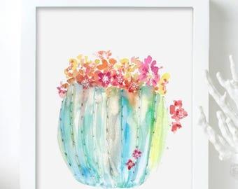 Cactus Art Print, Watercolor Cactus Print, Cactus Print for Nursery, Barrel Cactus in Bloom, Cacti Wall Art, Cactus Art, Cactus Watercolor