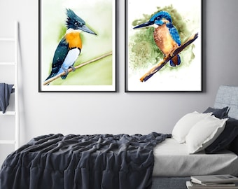 Kingfisher Birds PRINT SET of 2 Watercolor painting gift watercolour nature lover Poster wall decor Kingfisher