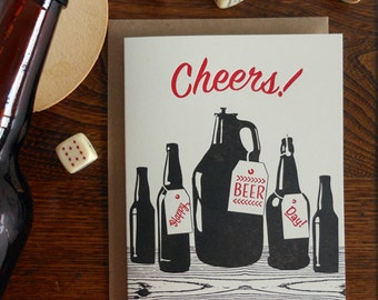 letterpress cheers! happy beer day greeting card homebrew birthday card bottles beer celebrate toast prost