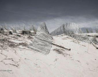 Beach Print, Beach Wall Art, Coastal Art, Beach Photo, New Jersey Beach, LBI, Sand Dunes, Beach House Decor, Neutral, Blue, Beige Tones