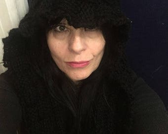 Hand Knitted Scarf with Hood Made to Order