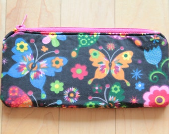 Butterfly pattern lined and padded pouch.