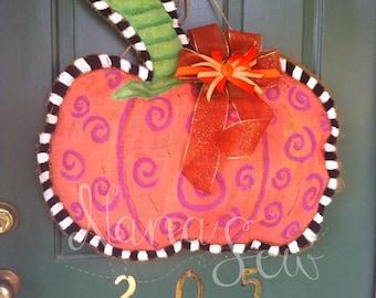 Fall Pumpkin Burlap Door Hanging