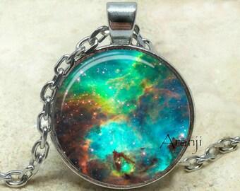 Large Magellanic Cloud galaxy art pendant, nebula necklace, galaxy necklace, space jewelry,  galaxy jewelry, galaxy pendant, Pendant #SP184P