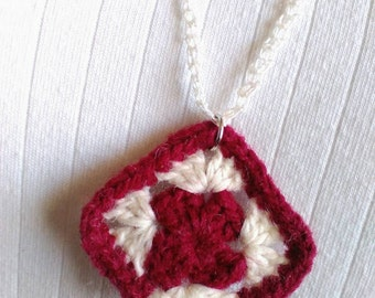 Granny Square Pendant Necklace with Hand Crocheted Lace Chain, Red and White Necklace, Crocheted Necklace, Craft Necklace, Yarn Necklace