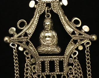 "1960's Signed ART- ""Artmode"" Asian Buddha and Pagoda Tassel Necklace"