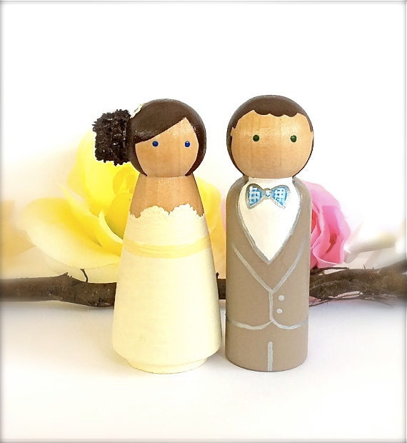 wedding cake toppers wooden dolls wedding cake topper custom cake topper peg dolls large 26642