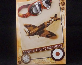Spitfire Aeroplane Card, WW2 Aeroplane Card, WW2 Spitfire Card, Spitfire Birthday Card, Birthday Card, 3d Birthday Card, Handmade in UK
