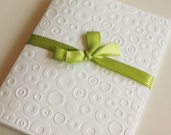 Circles White Embossed Greeting Cards - Note Card Set of 5 - A2 Size