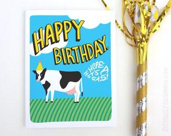 """Funny Fart Card, Fart Card, Funny Birthday Card, Cool Birthday Card, Cow Birthday """"I hope it's a gas"""" A2  Birthday Card"""