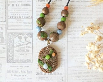 Fairytale gift necklace Woodland necklace Wood jewelry Wood beads Woodland pendant Wooden pendant bead necklace