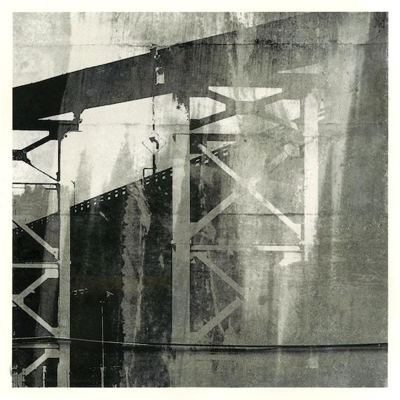 Ballad of Distances, unique print, urban decay, infrastructure, contemporary art, urban art, black and white, Seattle scene, iskra fine art