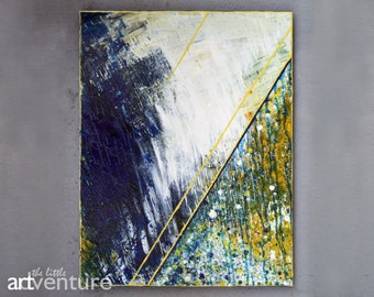 14x18 Original abstract blue and yellow painting - textured indigo white and yellow painting dark blue painting modern abstract painting art