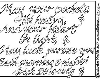 Irish Blessing coloring page pdf St. Patricks Day greens