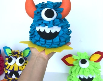 Littles Monster Birthday cake topper Party centerpiece adopt a monster decoration felt monster table decor baby cake topper littles by bella