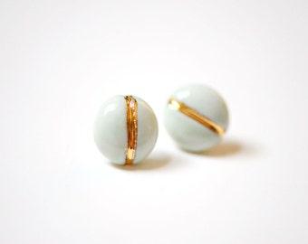 22k Gold Navigation Soft Turquoise - Stud Earrings, Porcelain Jewelry - 14k gold filled posts, Sensitive Ears