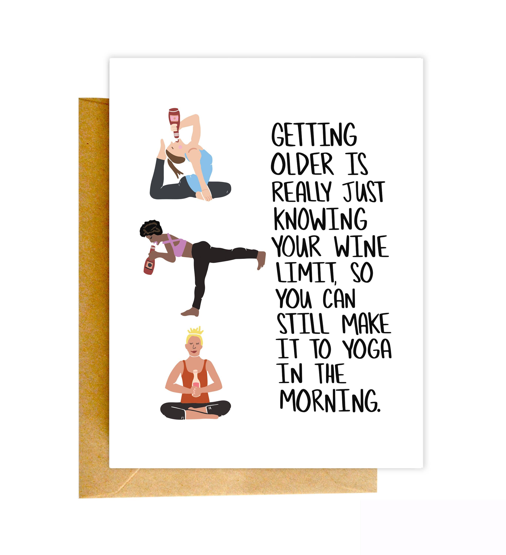 Funny Birthday Card Funny Yoga Card Birthday Card Funny