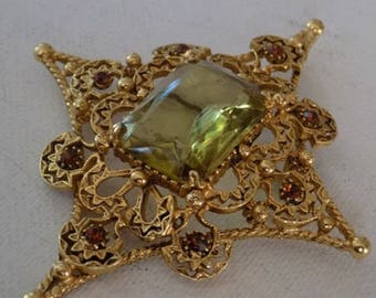 "Vintage brooch, signed ""Florenza"" brooch, collectible jewelry,Peridot and topaz crystal Victorian revival star brooch/pendant"