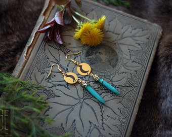 layered brass moon earrings with turquoise howlite spikes