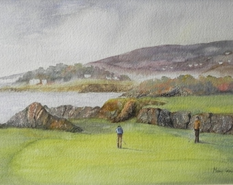Greencastle Golf Course, Co Donegal. Irish Art, Limited Edition Print. Irish Watercolour. Inishowen, Golf