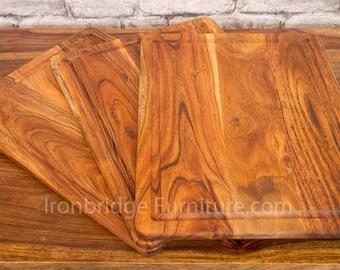 1x Solid Acacia Wood Board Placemat Chopping Board Food Tray Server 40cm x 30cm x 1.5cm ACA-PMATS