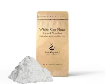 White Rice Flour, Kosher, Gluten Free, Fat Free, Sodium Free, Unbleached & Untreated, Vegan