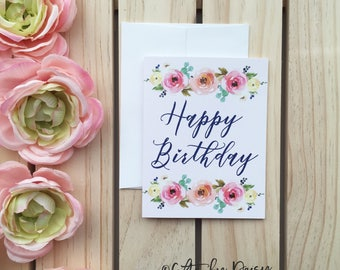 Happy Birthday Card, Floral Birthday Card, Congraulation Card, Birthday Card, Card for Mom, Card for Sister. Gift for her