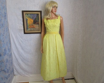 60s S Organza Embroidered Prom Bridesmaid Dress Evening Gown Lemon Yellow