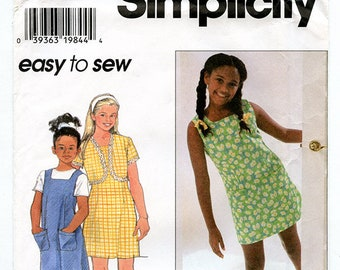 Vintage Simplicity 7489 Girls Summer Sleeveless Jumper Dress with Short Sleeve Crop Jacket UNCUT Sewing Pattern Sizes 7 8 10 Square Neck