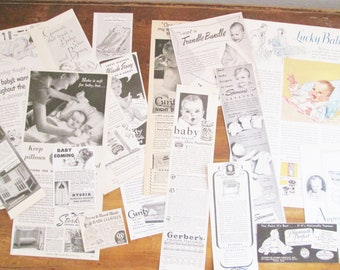 Vintage 1940's Ad Clippings Baby Infant Theme Original Gerber Baby Sweet Mixed Lot of Images Carriages Cribs Paper Crafts