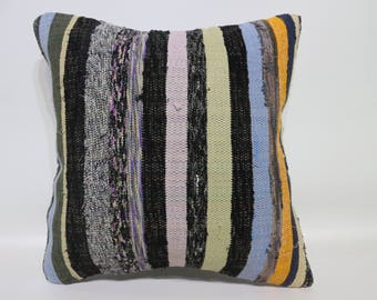 multicolor cotton pillow striped kilim pillow 40x40 cushion cover throw pillow 16x16 decorative cotton pillow 16x16sofa pillow   SP4040-4367
