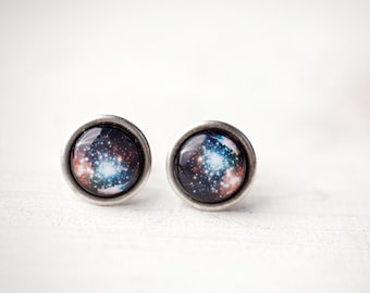 Blue and red galaxy cufflinks, Celestial cufflinks, Space cufflinks, Geek cufflinks, Astronomy Cuff links, Space gift for him Space Wedding