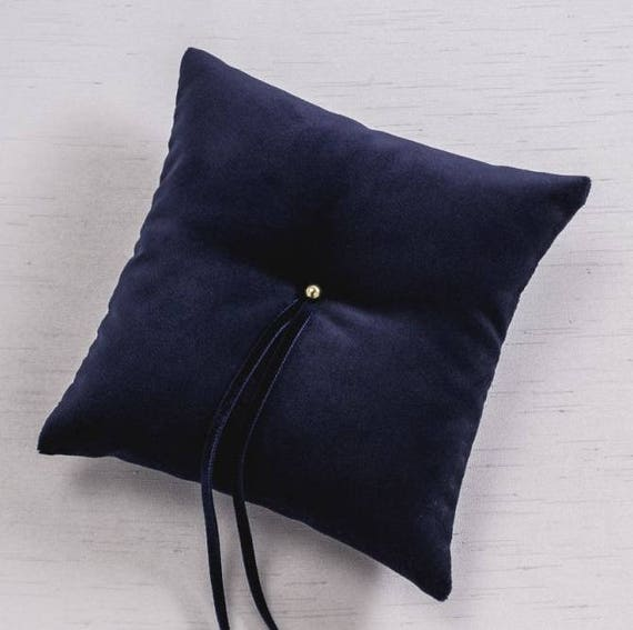 Velvet Navy Blue Wedding Ring Pillow