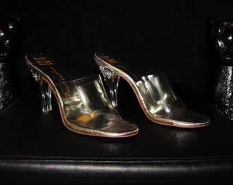 Peek-A-Boo-50s 60s Clear Lucite and Silver Carved Heels Mules Slip-Ons
