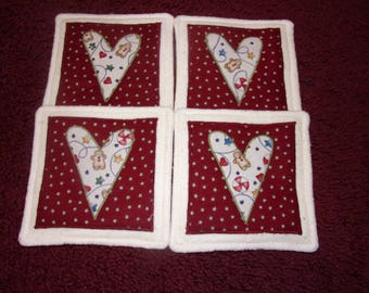 Gingerbread on Burgundy VALENTINE's DAY Country HEARTS Fabric Coasters Mug Mats Hot Pads Scatter Mats Trivets