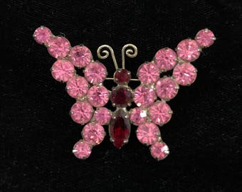 VINTAGE RHINESTONE BUTTERFLY Pin, Pink and Ruby Colored Rhinestones, Prong Set, Quality Unsigned Piece