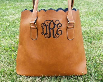 Monogrammed Scalloped Tote-Monogrammed Purse-Scalloped Tote-Scalloped Purse-Faux Leather Tote