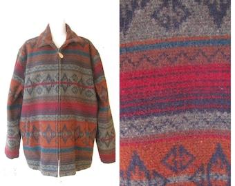 Vintage LL Bean Mens Wool Blanket Coat size XL