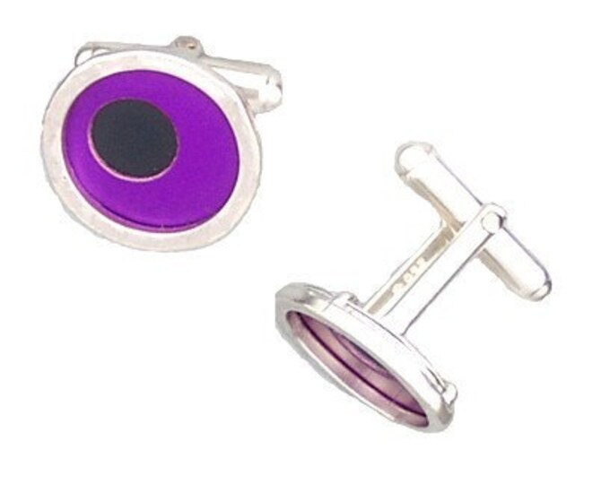 Two Tone Silver/recycled aluminum cufflinks purple and jet