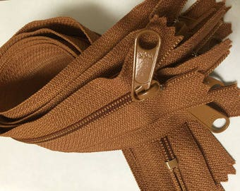 12 inch YKK handbag zippers, long pull, five pcs, 4.5 mm coil, light brown, saddle tan brown, YKK color 086, great for gadget cases, bags