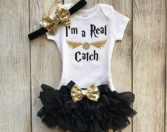 Harry Potter Inspired Baby Girl Outfit - I'm a Real Catch Harry Potter Inspired- Baby Girl Harry Potter Outfit - Muggle