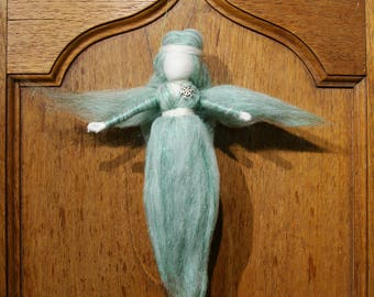 Green, glitter, needlefelted, OOAK, Yule, Christmas, Frost maiden fae, fairy, faery, with snowflake charm. Pagan fae fairy.