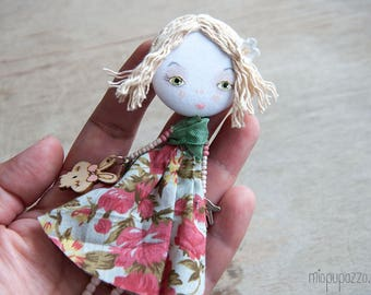 Young Spring Lady, Art doll brooch OOAK doll jewelry brooch Textile doll brooch