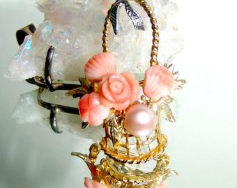 Vintage Vermeil Sterling Silver Carved Rose Angel Skin Coral Pink Pearl Pin Brooch