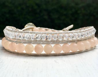 Rose Quartz Bead Leather Wrap Bracelet - Boho Bead Bracelet - Bead Wrap - Chan Luu Style - Leather Bracelet -  Large Wrist - Mother's Day